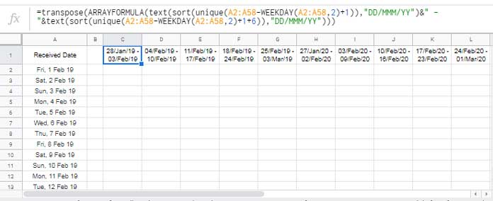 Calendar Week.Calendar Week Formula In Google Sheets Week Start End Dates