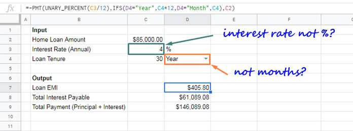 PMT Function in Google Sheets and Formula Examples