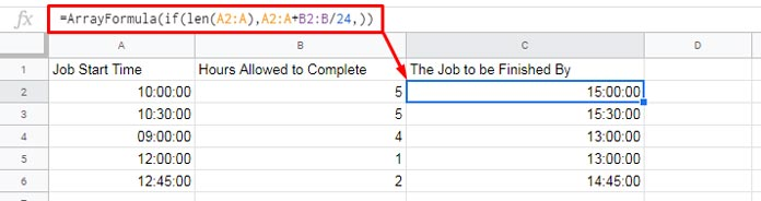 How to Add Hours, Minutes, Seconds to Time in Google Sheets