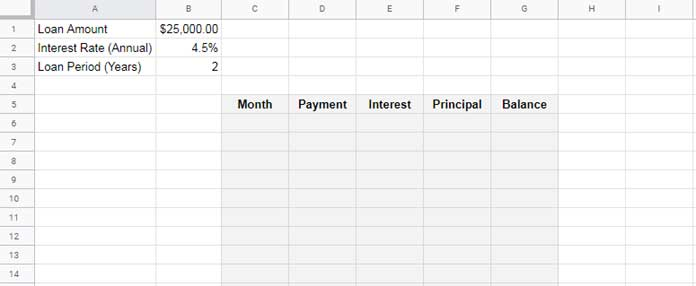 Amortization Schedule Formula >> Amortization Schedule In Google Sheets And Extra Principal Payments