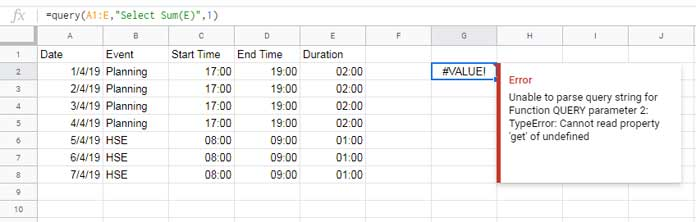 Group and Sum Time Duration Using Query in Sheets