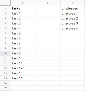 Assign Employees to Tasks Equally in Google Sheets