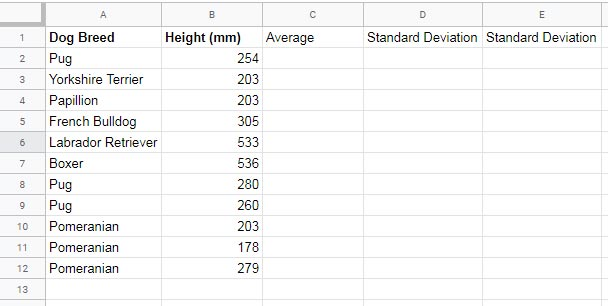 Mean and Standard Deviation Straight Lines on a Column Chart