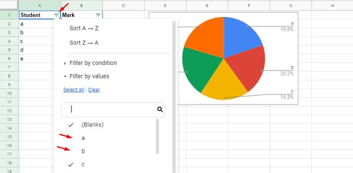 How to Include Filtered Rows in a Chart in Google Sheets