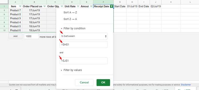 Filter by Date Range Using Filter Menu in Google Sheets