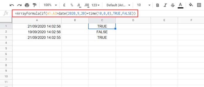 Timestamp within IF Function in Google Sheets - Formula
